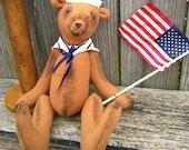 Patriotic Teddy Bear-Primitive Americana Bear-Military Sailor Bear