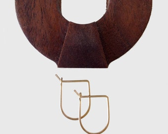 PETITE ARCH HOOPS - Little Arch Hoop Earrings- Gold, Rose Gold, or Sterling Silver Geometric Hammered Hoop Earrings