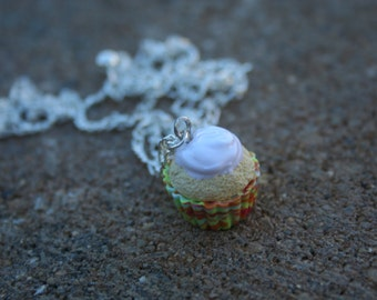 Vanilla Cupcake with White Frosting and a Tie-dye Wrapper, Polymer Clay Necklace, Handmade Polymer Clay Jewelry