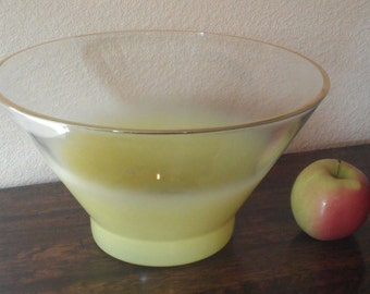 Yellow Blendo Bowl, Large, VIntage, Frosted Glass