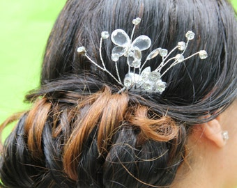 """Crystal butterfly Comb with Crystal Spray Detailing """"Lilly"""""""