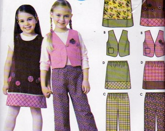 Simplicity 5489, Girls Sizes 3 to 8, Jumper, Lined Vest, Pull On Pants, Pull on  Skirt, Jumper with Contrast Hem and Appliques  Pattern