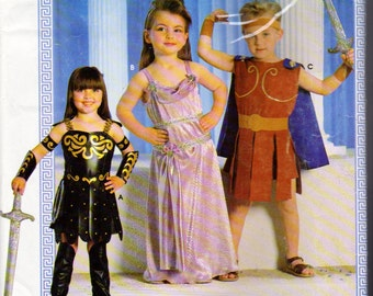 Simplicity 0604, Zena Warrior Costume, Roman warrior, Greek Goddess Costume Pattern, Childrens Sizes 3 to 8, Halloween Costume, Cosplay