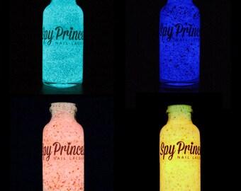 Pick 4 Glow Polishes - Handmade Glitter Glow in the Dark & UV Polish - Vegan - 5 Free