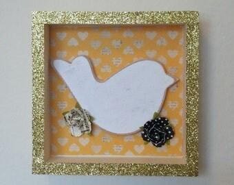 Bird Wall Decor - Shabby Chic - Shadow Box