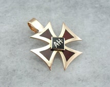 Rose Gold Iron Cross with Enameled AH Monogram ZZ6A0C-P