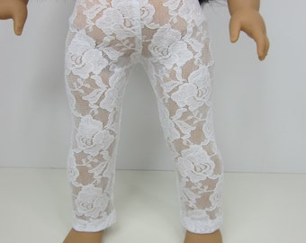 American Girl doll clothes -  White lace knit leggings.