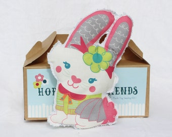 CLEARANCE Sale!! Plush Toy Sewing Kit - Henrietta the Rabbit & Flowers- DIY Craft project Make your own plush toy- Gift Box Set for Children