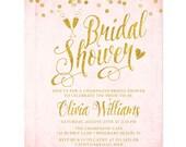 Blush Pink & Gold Bridal Shower Invitations -PRINTED Bridal Shower Invitations - Champagne Glasses - Gold Glitter Confetti