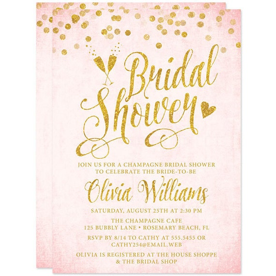 Pink And Gold Bridal Shower Invitations could be nice ideas for your invitation template