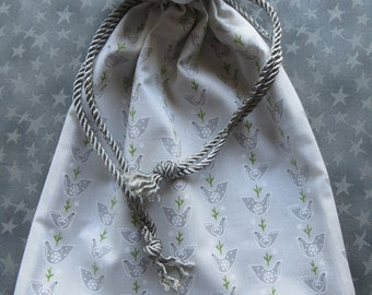 Winter Peace...Lined Fabric Drawstring Gift Bag