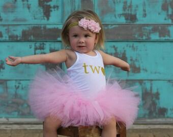 Girl 2nd Birthday Outfit...2nd Birthday Outfit Girl...Second Birthday Tutu Outfit...Pink and Gold Birthday...Pink and Gold 2nd Birthday Tutu