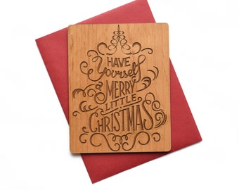 Christmas Cards Wood - Mini Wood Card - Wooden Christmas Greeting - Holiday Cards - Christmas Gifts - Xmas Cards