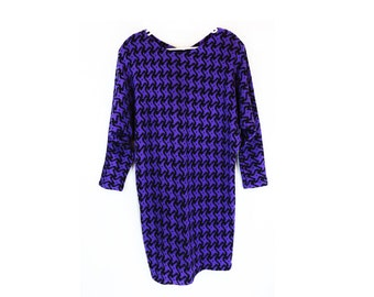 Vintage 80s Purple Knit Graphic Sweater Dress