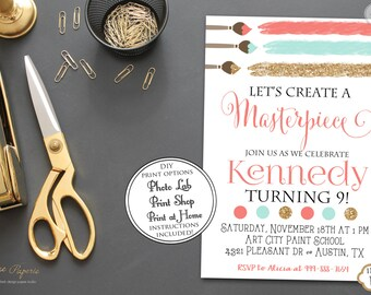 INSTANT DOWNLOAD - Art Party Invitation - Coral Mint Gold Glitter Art Birthday Party - Paint Party - Painting Party - Rainbow Party - 0145