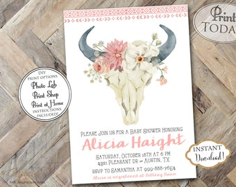 INSTANT DOWNLOAD - Boho Cow Skull Baby Shower Invitation - Tribal Pow Wow Aztec Feather Baby Shower - Arrows Boho - Bohemian Floral 0335