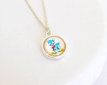 Sweet Retro Blue Fawn Bambi Cameo Necklace