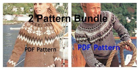 Bundle Vintage Mens Womens Pullover Pattern Icelandic Nordic Fair Isle Scandinavian Yoke Ski Knitting Sweater Leaflet PDF Digital Download