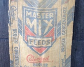 Vintage Burlap Feed Sack, Master Mix, Chicken, Calorized Broiler Concentrate, Double Sided Graphics, Rustic Upcycle Repurpose