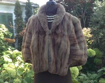 Vintage Mink Fur Stole Capelet Palamino Light Brown
