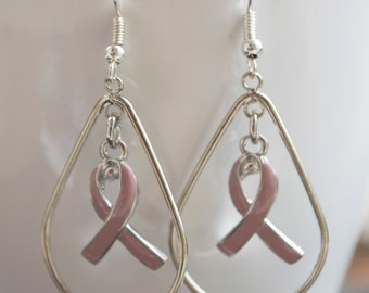 Breast Cancer Awareness Hope Drop Earrings