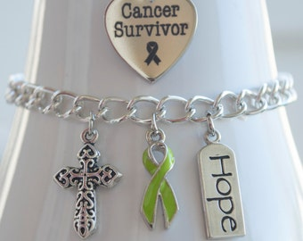 Lymphoma Cancer Awareness Charm Bracelet