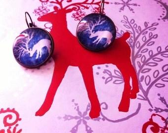Blue deer Earrings Antique Brass
