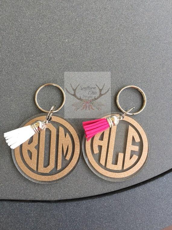 glitter circle monogram keychain acrylic keychain glitter