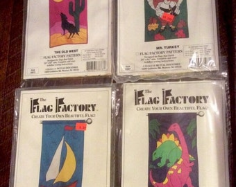 Lot Of 4 Patterns From The Flag Factory Multiple Themed Thanksgiving, Sail boat, Dinosaur, Wolf UNCUT New