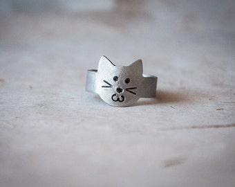 Bague réglable avec joli chat qui sourit, baque avec chaton, idées cadeaux pour dames de chat, aimants des chats, bagues avec animaux
