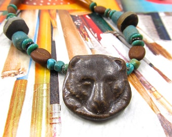 Brown Bear Necklace, Ceramic Bear, Turquoise and Horn, Spiritual Necklace, Porcelain Brown Animal, Native American Style, DZI Bear Choker