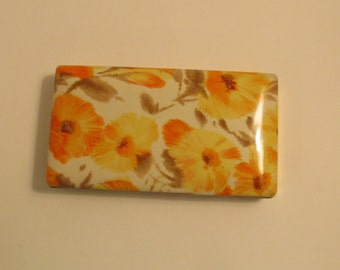 1970s  Mele Mod Flower Post Earring Jewelry Box Travel Case -Oranges and Yellows
