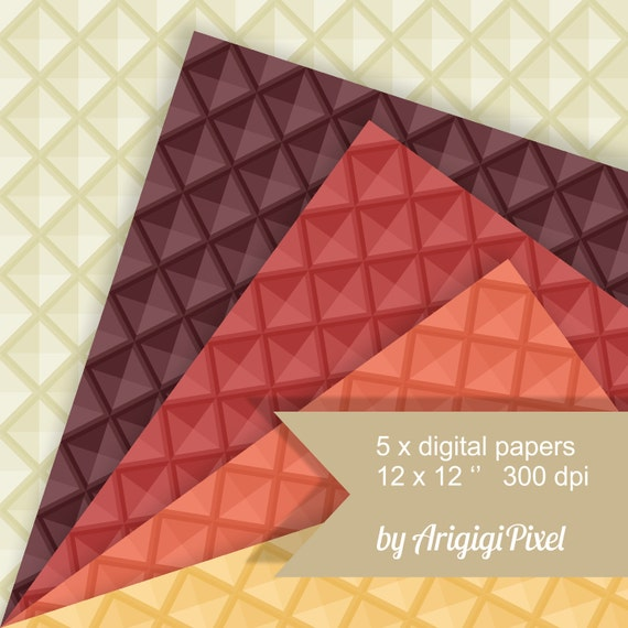 diamond checkered geometrical seamless patterns - 3D effect - warm earth colors papers digital download