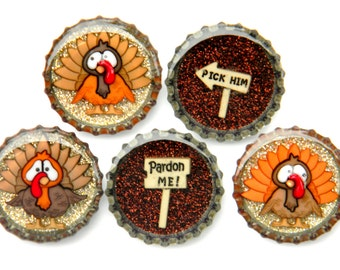 NEW Bottle Cap Magnets - Turkeys - Set of 5