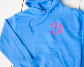 EMBROIDERED MONOGRAM Hoodie Circle Vine Adult Sweatshirt Monogram Fall Fleece