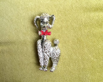Vintage Poodle Pin Brooch Silver Tone with Red Enamel Bow 1950s 60s Metal Puppy Dog Accessories Vintage Animal Lover Brooch Holiday Pin Gift