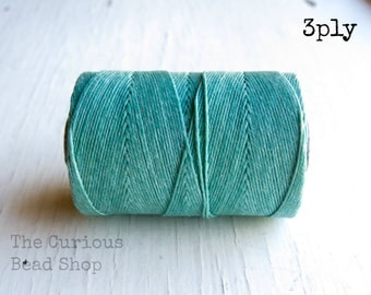 Jade Green Irish waxed linen cord 3ply (10 yards) - irish waxed linen cord, irish waxed linen thread sage green irish linen, uk irish linen