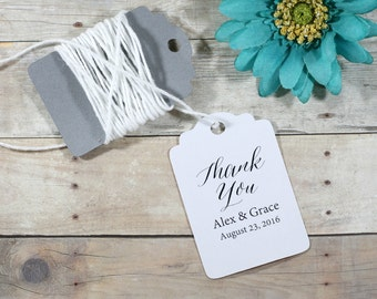 Custom Thank You Tags set of 20 - Personalized White Wedding Favor Tags - White Custom Shower Favors - Custom Bridal Favor Tags