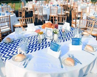 """Chevron Table Runner, Wedding Runners, Blue Chevron Table Runner - 14"""" x 108"""" - Wedding Decor, Event Decor, Modern Table Runner"""