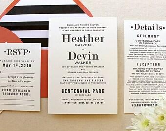 The Hazel Suite - Letterpress Wedding Invitation Suite, Black and White, Modern, Serif Fonts, Simple, Urban, Chic, Gay, Orange, Stripes