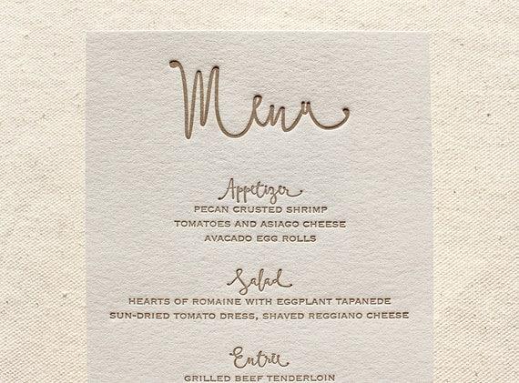 Letterpress Dinner Menus - 1 color - Custom, modern, traditional, classic, calligraphy, gold, blush, Script, Swirls, Simple, Black, Wedding