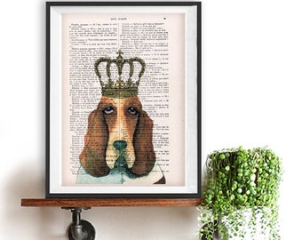 Basset Hound Poster, Hush puppy art, Dog Artwork, Basset Hound Art Print, Gift for Him, Red, Office Wall Art, Wall Decor, Home Decor