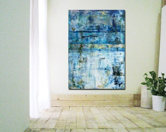 Art canvas painting Wall Art, Modern abstract art Modern Acrylic Blue Painting heavy texture Vertical painting, canvas wall Decor 42x30""