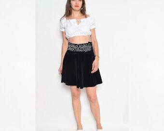 Vintage 90's Black Full Circle Velvet Mini Skirt / Embellished Black Velvet Skirt
