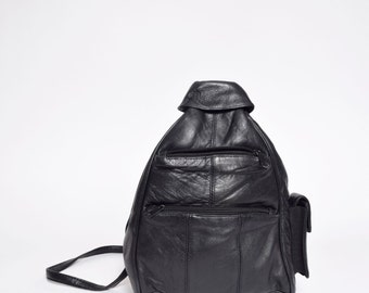 Vintage Black Real Leather  Backpack / Shoulder Bag with Mobile Phone Pocket (missing one strap)