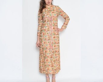 Vintage 70's Embroidered Empire Waist Long Sleeve Dress