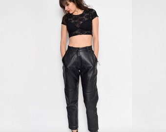 Vintage 80's Motorcycle Black Real Leather High Waist Pants
