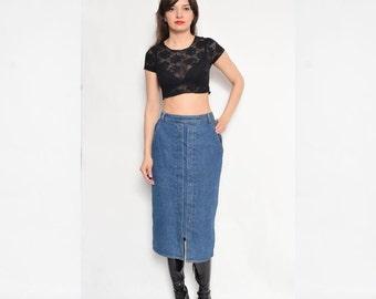 Vintage 90's Blue Denim Skirt / Pencil Denim Skirt / High Waisted Midi Skirt / Studded Denim Skirt