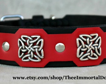 Celtic Guinness Collar Is A 2'' Width Tapered At The Buckle Adorned With Celtic Square Concho's Held Together With Chicago Screws .