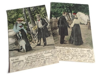 Set of 2 Vintage German Postcards . Romantic Couple Postcard . Vintage Postcard Set .